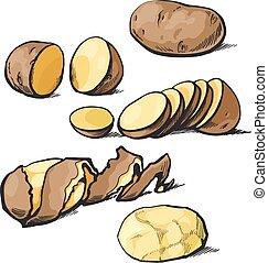 taglio, set, pulizia, patate
