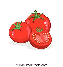 taglio, tomatoes., verdura, isolato, vettore, mucchio, fondo, mezzo, bianco, tomato., intero, cartone animato, illustration.