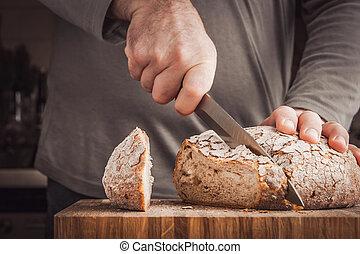 taglio, uomo, bread