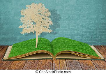 taglio, vecchio albero, carta, erba, libro
