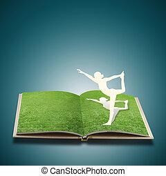 taglio, vecchio, carta, yoga, ragazza, erba, libro