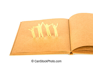 taglio, vecchio, famiglia, simbolo, carta, libro