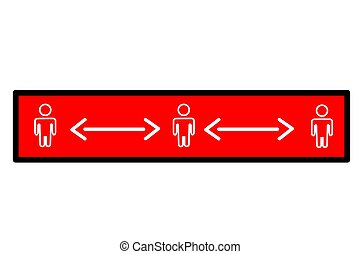 taglio, vettore, o, distanza, trasmissione, semplice, avvertimento, fisico, adesivo, sociale, covid-19, prevenzione, virus, pandemia, quadrato