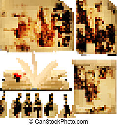 tags., θέτω , γριά , illustration., χαρτί , μικροβιοφορέας , έλασμα