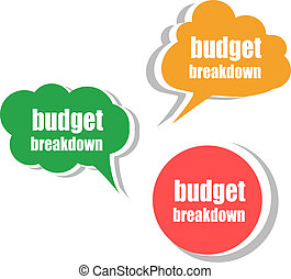 tags., セット, ビジネス, ラベル, 予算, ステッカー, 旗, breakdown.