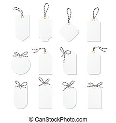 Tags and labels with bakers twine bows ribbons - Set of tags...