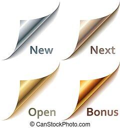 tags., angoli, metallico, campione, pagina, arricciato