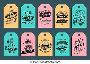 tags., broodje, burgers, voedingsmiddelen, ouderwetse , etiketten, honden, vasten, hand, warme, vector, collection., snel, getrokken, enz., maaltijden, illustrations.