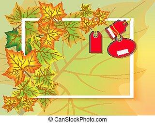 tags., cartaz, folhas, text., venda, outono, luxo, modelo, quadro, maple, design.