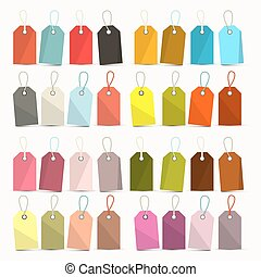 Tags. Colorful Retro Vector Paper Labels Set with Strings - Ropes Isolated on White Background.