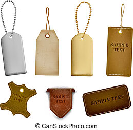 tags., conjunto, etiquetas, cuero, grande