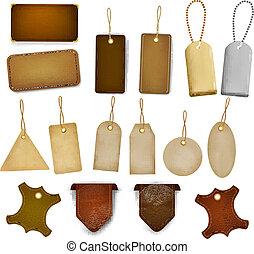 tags., ensemble, étiquettes, cuir, grand