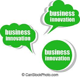 tags., ensemble, business, étiquettes, innovation., gabarit, infographics, autocollants