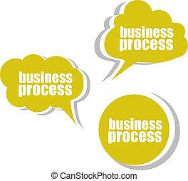 tags., ensemble, business, process., étiquettes, gabarit, infographics, autocollants