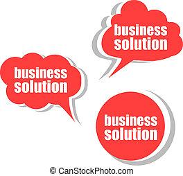 tags., ensemble, business, solution., étiquettes, gabarit, infographics, autocollants