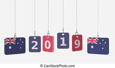 Tags featuring flags of AUSTRALIA and 2019 text. Alpha matte...