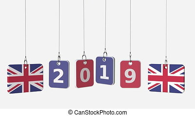 Tags featuring flags of BRITAIN and 2019 text. Alpha matte...