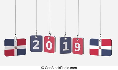 Tags featuring flags of DOMINICAN REPUBLIC and 2019 text....