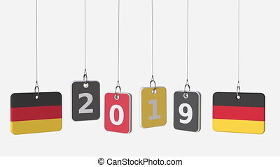 Tags featuring flags of GERMANY and 2019 text. Alpha matte...