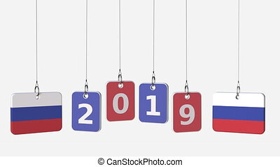 Tags featuring flags of RUSSIA and 2019 text. Alpha matte...