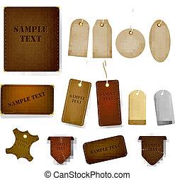 tags., jogo, couro, grande, etiquetas, ilustração, vetorial