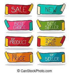 tags., nuovo, affari, set., etichette, prodotto, venditore, vendita, vettore, retro, stickers., cima, meglio