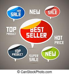 tags., nuovo, product., cima, etichette, venditore, vendita, retro, super, meglio