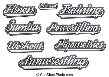 Tags of popular gym sports. Modern style. Vector ...