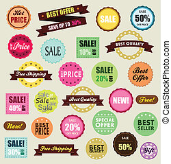 Vetor de etiquetas de desconto, frete gratis, promocao, liquidacao, novo, preco quente, melhor oferta e presente.