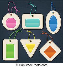 tags., set, colorare, etichette, bolle, adesivi