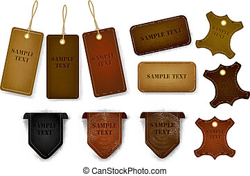 tags., set, etichette, cuoio, grande