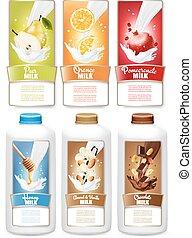 tags., set, flessen, peer, etiketten, melk, drie, fruit, ...