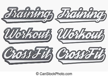 Tags Training Workout Cross Fit in sports style. Realistic ...