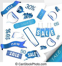 tags., vector, set, verkoop