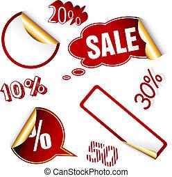 tags., verkoop, rood