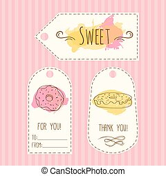 Tags with donut illustration. Vector hand drawn labels set watercolor splashes. Sweet pastry