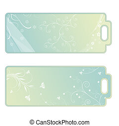 Tags with flourishes, green, blue, white