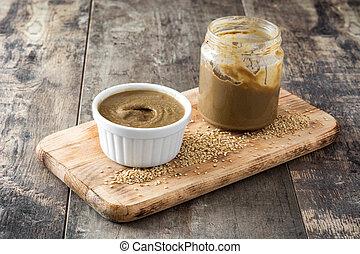 tahini, e, sementes sesame, ligado, madeira, tabela.