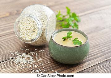 tahini, feito, de, sementes sesame