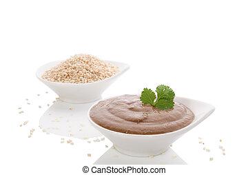 tahini, macarronada, e, sésamo, seeds.