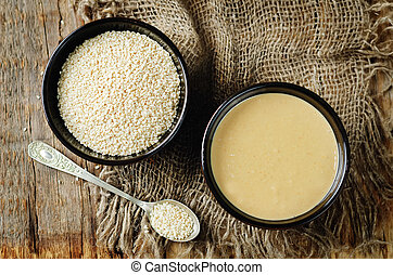 tahini, sésamo, pasta, com, sementes sesame
