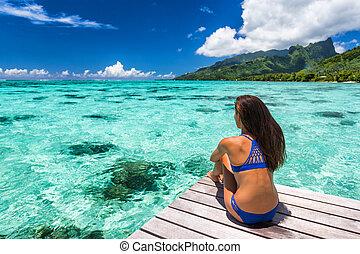 tahiti., bronzé, derrière, bateau, bikini, océan, ...