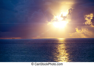 tahiti, oceano, polynesia., sunset.