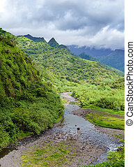 Tahiti. Polynesia. Clouds over a mountain landscape