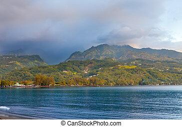 tahiti., sunset., polynesia., oceano