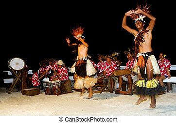 tahitian, pazifik, insel, junger, polynesian, maenner, tänzer