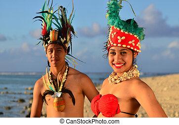 tahitian, pazifik, paar, insel, junger, polynesian, tänzer
