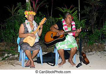 tahitiano, guitarra, juego, hembras, polynesian, ukulele,...