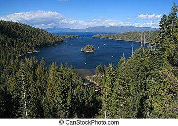 tahoe, bahía, california, lago, esmeralda