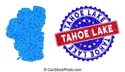 Tahoe Lake map polygonal mesh with filled triangles, and unclean bicolor watermark. Triangle mosaic Tahoe Lake map with mesh vector model, triangles have randomized sizes, and positions,